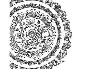 Mandala à colorier et à imprimer vous-même - mandala - zentangle - anti-stress -fait main - coloriage - détente - fleur - rond -