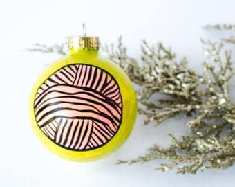 Handpainted Christmas Ornament - Yarn Gifts Knitting, Knitter gifts, Gifts for Knitters, Holiday Ornaments, Christmas Tree Decor baubles