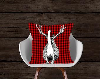 Deer Pillowcase, Deer Pillow, Whitetail Deer, Cottage Decor, Farmhouse Decor, Make Your Home, Cottage, Farmhouse or Anywhere Fun.