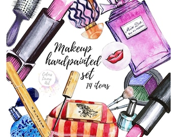 Cosmetics Clipart Fashion Clip Art Makeup Set Planner Stickers Supplies Perfume Lipstick Illustration