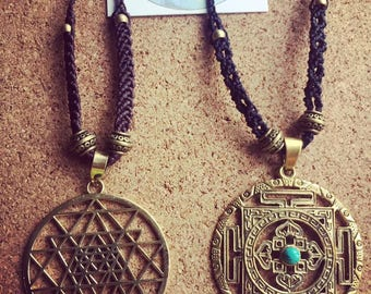 Necklace with Sri Yantra/sacred Geometry and Macramé