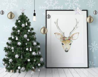 Christmas Deer Print - Printable Art, Watercolor, Digital Print Wall Art, Instant Download, Nursery Decor, Kids Room, Cute Gift, Woodland