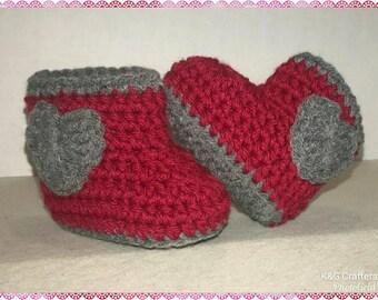 Crochet Boot Booties with Valentine Heart handmade