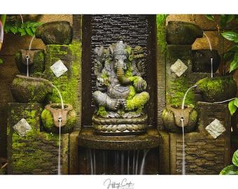 Ganesha Photography Print // Bali Religious Photography, Ubud Buddhist Symbol, Fountain Wall Art, Hindu God Home Decor, Ganesh Statue Photo