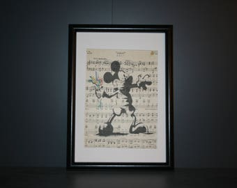 Vintage Antique Music Book Wall Art Print Picture - Banksy Style MICKEY MOUSE
