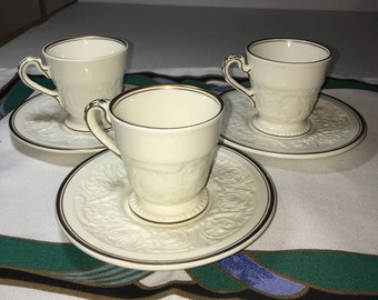 "Set of Three Wedgwood of Etruria & Barlaston ""Patrician"" Pattern Demitasse Cup and Saucer"