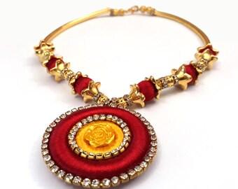 Handmade Silk Threaded Designer Choker Necklace with Pendant