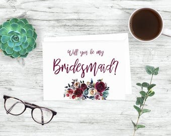 Printable Bridesmaid Card- Printable Bridesmaid Proposal-Floral Will you be my bridesmaid proposal- Download wedding-Maid of Honor Card