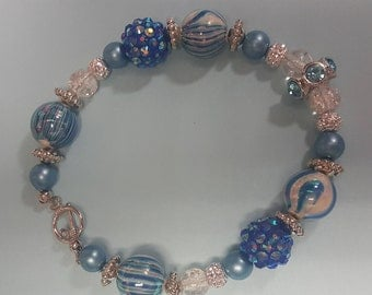 Blue and crystal beaded bracelet