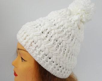 white hat women, white knit hat,white hand-knit hat,handmade knit hat,white winter hat ,winter hat,winter hat woman