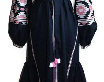 Ethnic Ukrainian Vyshyvanka Dress Custom Boho Clothing Embroidered Dresses Ukraine Embroidery Vishivanka Modern Kaftan Dubai Abaya