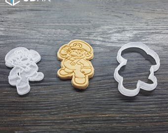 Super Mario Cookie Cutter Birthday Gift Cake Fondant Mold Mould Party Set of 2pcs Bros Tool Printed 3D