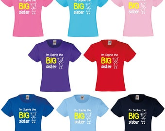 Personalised I'm The Big Sister Girls T-Shirt
