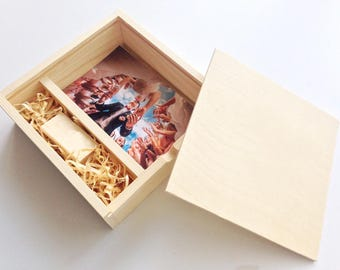 Wood photo box,storage,wooden box, box for photos,usb flash drive / wedding photo boxkeepsake, holder, couple memory box