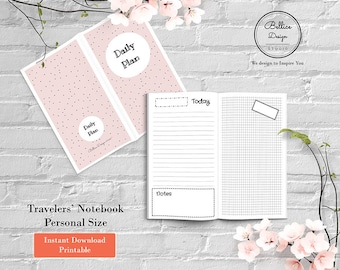 Personal Insert Planner, Grid and Lined Notebook, Daily Personal Insert Printable, Insert Planner, Undated Daily, Printable Daily Foxy Fix