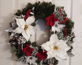 Soft White and Red Poinsettia Wreath