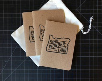 3-pack | Pacific Wonderland hand-stamped Scout Books pocket notebooks with reusable cotton gift bag