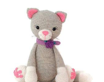 crochet cat, crochet kitty, stuffed grey and pink kitty, soft toy, handmade kitty, crochet toy, amigurumy cat, cat lovers, gift for kids