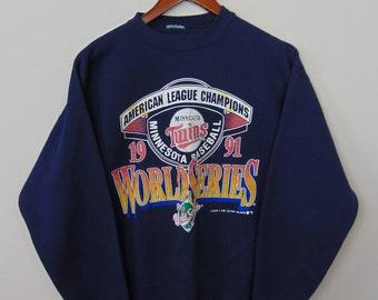 Vintage Logo 7 Men S/M Minnesota Twins 1991 World Series Crewneck Sweatshirt MLB 90s