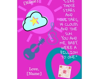 Pink Personalized art print sings you my fun love song | Valentine's gift for her | daughter Valentine | inspiring wall art | Galentine gift