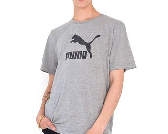 VINTAGE Grey PUMA Retro T-Shirt