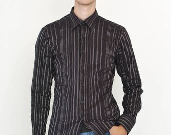VINTAGE Black Striped Long Sleeve Button Downs Retro Shirt