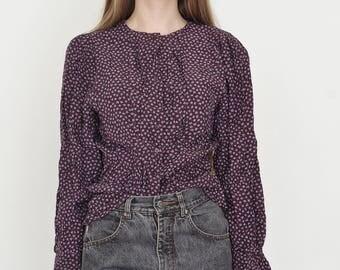 VINTAGE Dark Purple Floral Long Sleeve Retro Shirt