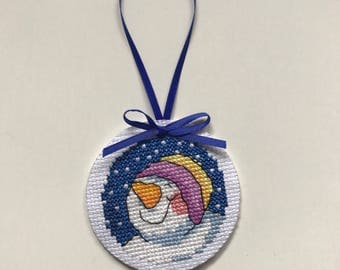 Christmas ornament / snowman decoration / cross stitch gift