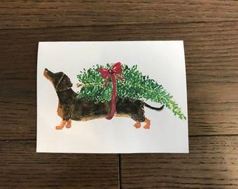 Dachshund Carrying Christmas Tree