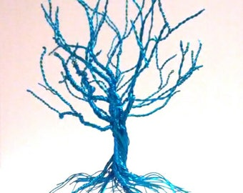 Metallic Blue Tree of Life Sculpture - Wire Tree Earring Holder - Wire Tree - Wire Art - Wire Oak Tree - Wire Sculpture - Twisted Oak Tree