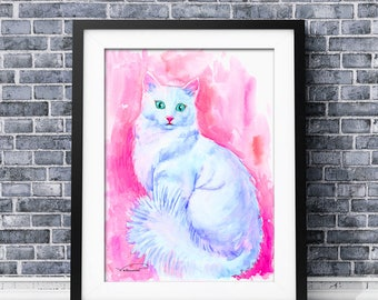 Cat watercolor print, colorful cat wall art, white cat painting,cat poster, cat home decor, cat illustration, cat art print, pet watercolor