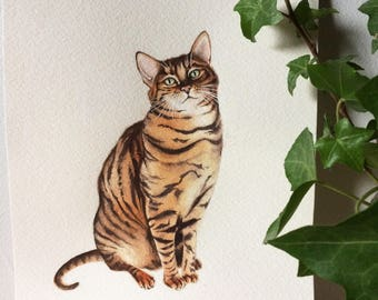 Custom Pet Portrait, Watercolour Painting, Various Sizes Available