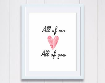 All of me printable quote poster heart love typography print home decor digital download wall art printable love poster pink heart print