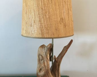 Vintage driftwood lamp with original shade