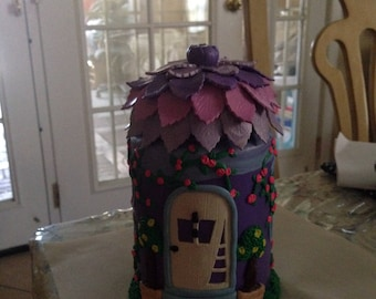 Polymer clay fairy house jar