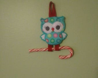 owl with candy cane Christmas ornament