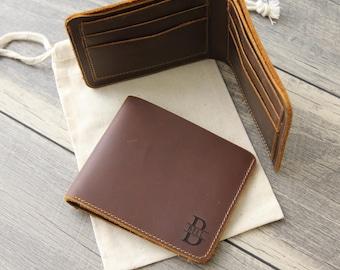 Custom Wallet - Personalized Monogrammed Leather Wallet - Engraved Brown Mens Bifold Wallet