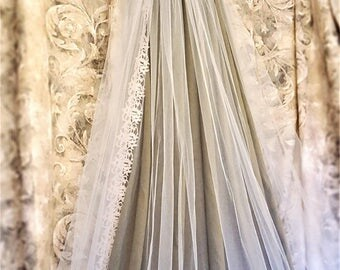 Beaded Lace Cathedral Veil / Blush Long Veil / Crystal Cathedral Veil / Blush Bridal Veils / Soft Bridal Veils / Wedding Veils with Colors