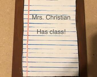 Clipboard teacher door hanger