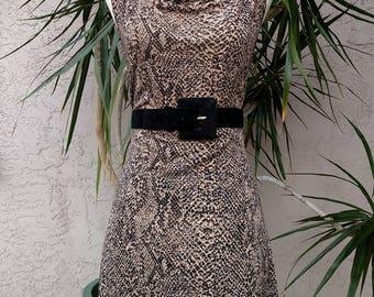 1990's brown dress, snake print, sleeveless, scoop neck, knee length, vintage