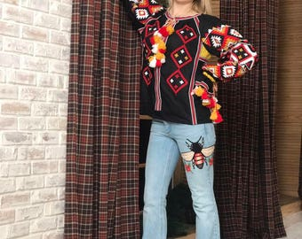 Ukrainian Embroidery Vyshyvanka Boho Ukrainian Blouse Black Linen Boho Vishivanka Bohemian Style Fashion Ukrainian Chic Nationale