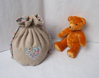 Kit toilet Liberty Betsy pouch baby porcelain and Terry heart pattern