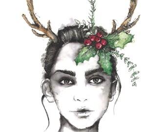 The deer antler-portrait illustration