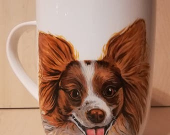 Personalized dog mug, coffee mug, Papillon mug, designer mug