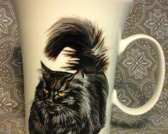 Mug Back cat, hand painted mug, Personalized mug, coffee mug, designer mug, Porcelain mug
