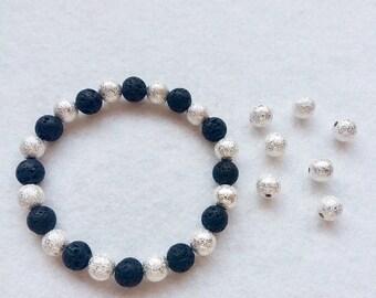 Stardust Essential Oil Diffuser Bracelet, Lava Stone and Silver Stardust Stretch Bracelet
