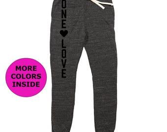 "Eco Friendly ""One Love"" Women's Joggers   Organic Cotton Sweatpants   Recycled Clothing   Joggers   Organic Clothing   Boho Pants"