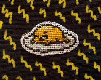 Gudetama cross stitch patch