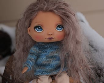 Doll craft textile doll vintage stuffed doll tilda doll art doll in cloth birthday gift oll decor doll interior doll Valentineday gift  best