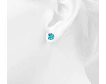 4mm Swiss Blue Topaz Stud Earrings 925 Sterling Silver Earrings Swiss Blue Topaz Faceted Gemstone Beautiful Post Earrings Gift For Her